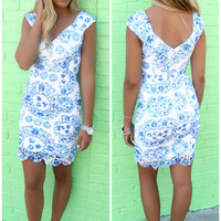 Beaufort Blue Floral Print Lace Cap Sleeve Bodycon Dress