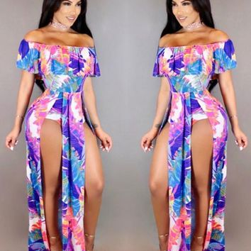 Blue Leaves Print Ruffle Double Slit Off Shoulder High Waisted Maxi Dress