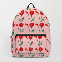Red Tulips Art Backpacks by Artist Abigail