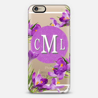 Purple Flowers Custom Slim Phone Case with Initials