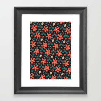 Deck the Halls (Black Background) Framed Art Print by lalainelim