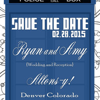 Customizable Doctor Who Inspired Save the Date and Reminder Card