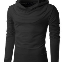 Doublju Mens Turtle neck Hoodie shirts BLACK (US-M)