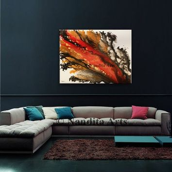 Large Modern Art, Abstract Red and Orange Wall Art, Modern Acrylic Painting, Modern Original Acrylic Painting on Canvas for Sale - Nandita