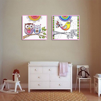 Owls & Bird Drawing, Baby Room Wall Decor, Colourful Rainbow Print, Rainbow painting, Nursery Wall decor,  Owls in love illustration