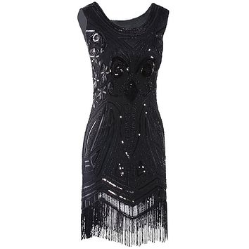 Women 1920's Vintage Great Gatsby Beaded Fringed Sequin Art Nouveau Deco Paisley Flapper Party Dress Black Midi Dress Vestidos