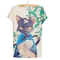 Thin Loose Cute Kawaii Cat Girl Anime Women's 3D T-Shirt