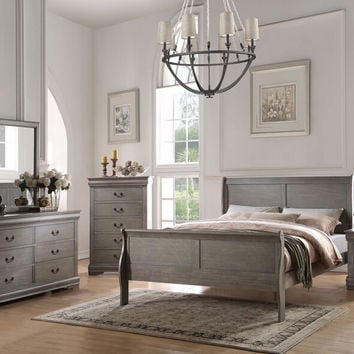 Acme 23860Q 5 pc louis phillippe antique grey finish wood queen sleigh bedroom set