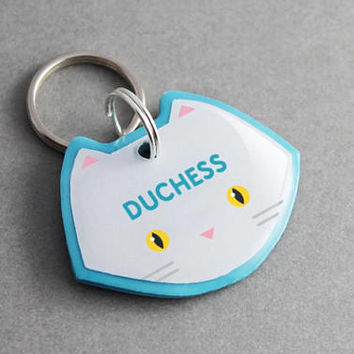 Cat ID Tag Persian - Personalized, Custom, Pet ID Tag, Cat Collar, Cat Lover Gift, Cat Clothes, Cat Harness, Furry, Cute, Kawaii, Handmade