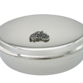 Black and Silver Toned Motorcycle Pendant Oval Trinket Jewelry Box