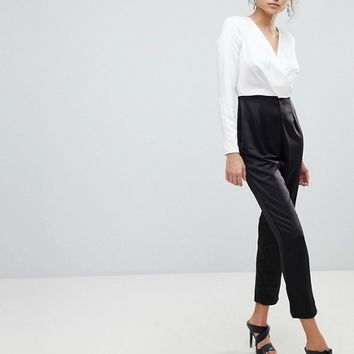 Missguided Wrap Front Monochrome Jumpsuit at asos.com