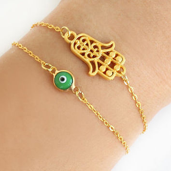 Hamsa bracelet green evil eye bracelet gold plated chain dainty bracelet istanbul turkey jewelry ethnic arabic best friend birthday gift