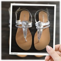 """Fun Time, Any Time"" Silver Flat Heel Sandals"