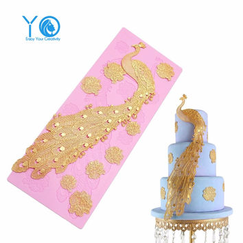 Peacock Moldes Silicone Lace Mat Fondant Molds Cake Decorating Baking Tools For Cakes