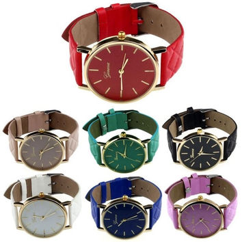 1PC Women Men Casual Geneva Unisex Watch Faux Leather Quartz Analog Wrist Watch = 1932554564