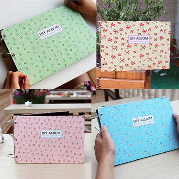 DIY Blue Green Pink Flower Photo Picture Album Book Love Memory Self Sticking