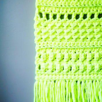 Bohemian Wall Hanging Neon Yellow / Modern Woven Tapestry / Boho Fringe / Weaving / Day Glo / Crochet Rustic Textile / Modern Home Décor