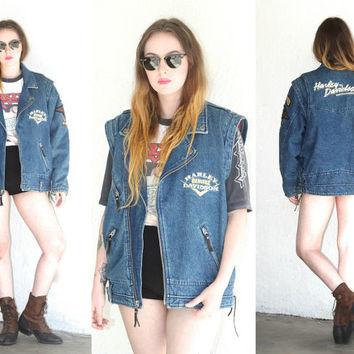 Vintage 90s HARLEY DAVIDSON Denim Patched Motorcycle Jacket // Medium Wash // Zip Vest // Biker Boho Hipster // Small / Medium / Large