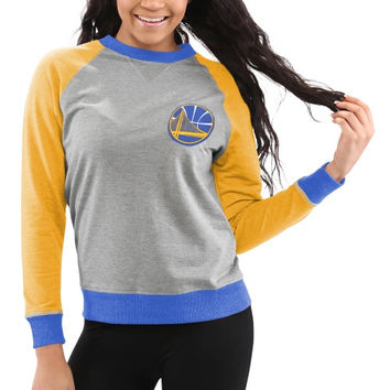 Golden State Warriors Women's Bonfire Raglan Crew Fleece Sweater – Gray
