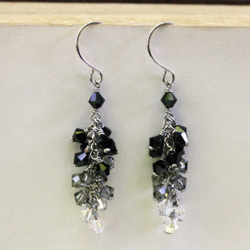 Midnight Swarovski Crystal Cluster Earrings
