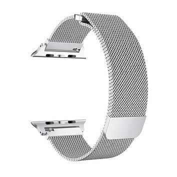 Stainless Steel Mesh Milanese Loop for Apple Watch Band 40/38mm, Adjustable Magnetic Closure Replacement iWatch Band for Apple Watch Series 4 3 2 1 (40/38mm Silver)