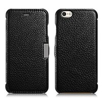 iPhone 6s / 6 Case, Benuo [Litchi Pattern Series] [Ultra Slim] Genuine Leather Folio Flip Case [Simple & Protective] with Magnetic Closure for iPhone 6s / iPhone 6 4.7 inch (Black)