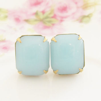 Chunky Chalcedony Aqua Blue Vintage Glass Jewel Post Earrings - Wedding, Bridal, Bridesmaid, Preppy Stud Earrings