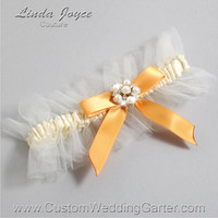 "Ivory and Gold Tulle Wedding Garter Bridal ""Natalie"" Silver 871 Ivory 675 Gold Prom Luxury Garter Plus Size & Queen Size"