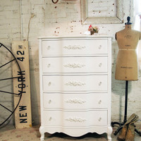Painted Cottage Chic Shabby  White Romantic Dresser CH357