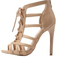 Beige Strappy Lace-Up Caged Heels by Charlotte Russe