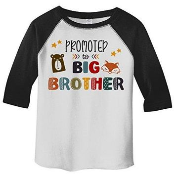 Shirts By Sarah Boy's Toddler Promoted To Big Brother Bear 3/4 Sleeve Raglan Tee