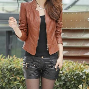 Leather Jacket Half Sleeve - Camel