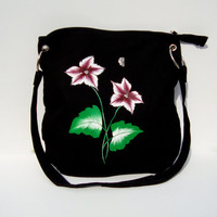 Hand Painted Messenger Bag with Burgundy and White Flowers and  Butterfly Charm