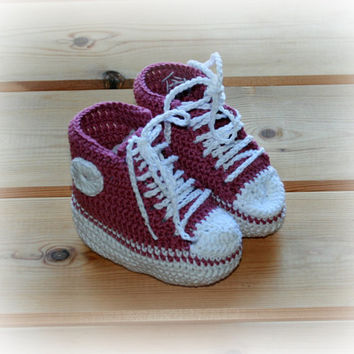 Crochet Baby Booties High Top Converse Style Pattern : baby girls crochet converse style booties from ...