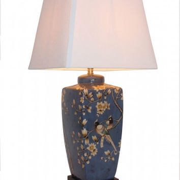 PAIR of Hand Decorated Chinese Oriental Porcelain Jar Table Lamps in Blue/Grey.