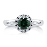 Sterling Silver Round Simulated Emerald CZ Halo Ring 1.02 ct.tw1 Review(s) | Write A ReviewSKU# R783-EM