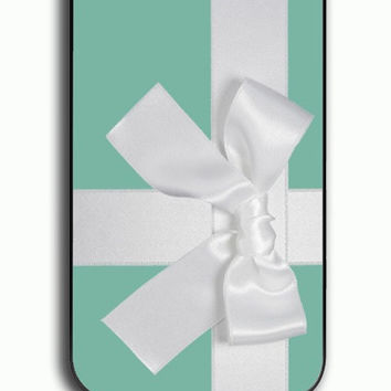 iPhone 4S Case - Hard (PC) Cover with Tiffany mint Box with Bow Plastic Case Design