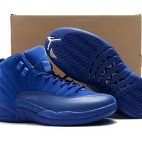 Air Jordan Retro 12 Premium Deep Royal Blue Suede Basketball Shoes Men 12s Sneakers