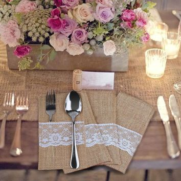20pcs Rustic Jute Burlap Lace Tableware Pockets
