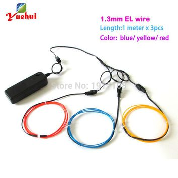 With toys/craft party decoration 1.3mm 1Meter 3pieces electroluminescent el wire flexible neon glow light and neon thread light