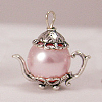 Medium Pink Pearl Sterling Silver  Teapot Charm