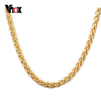 Vnox Ouro Long Necklace Statement Necklace for Men Women Gold Silver Plated for Chain DIY Pendant