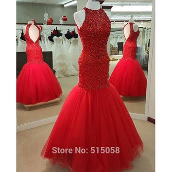 Fully Beaded Top Bodice Corset Long Red Evening Gowns Open Back Mermaid Prom Dresses 2017