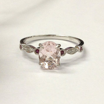 Morganite Engagement Ring 14K White Gold!6x8mm Oval Cut Pink Morganite,Art Deco Antique,Ruby Diamond Promise Ring,Wedding Bridal Ring