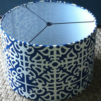 LampShade Drum Style in blue and white geometric fabric / barrel lamp shade or pendant light shade