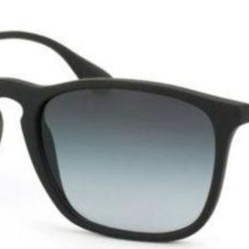 Kalete New Authentic Ray-Ban Sunglasses CHRIS RB 4187 622/8G 54 Black Grey Gradient