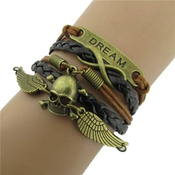 DIY Multilayer Infinity Angel Wings Skull Leather Bracelet Bangle Chain