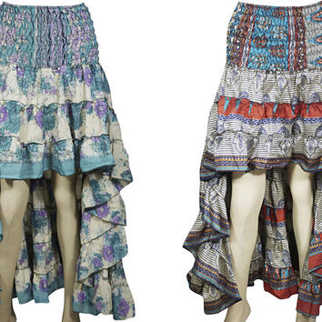 Julia Romantic 2pc Hi Low Skirt Recycled Vintage Sari Gypsy Fashion Long Ruffle Flirty Flare Summer Skirts S/M