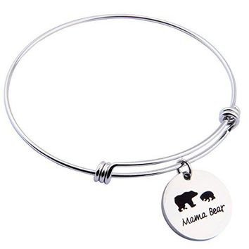 ENSIANTH Sweet Family Mama Bear Adjustable Bracelet Stainless Steel Bangle Family Jewelry Gift for Mother