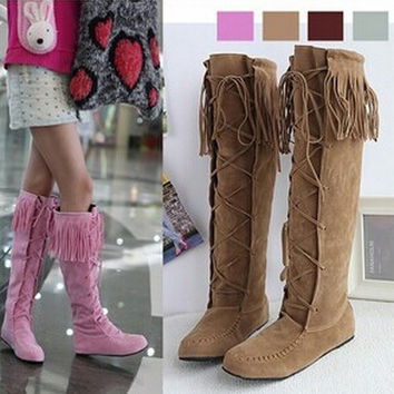 Womens Tall Lace Up Faux Suede Tassles Slouchy Boho Fringe Mid Calf Boots Shoes = 1946519236